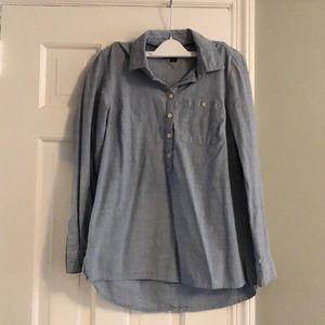 Chambray half button up boyfriend shirt